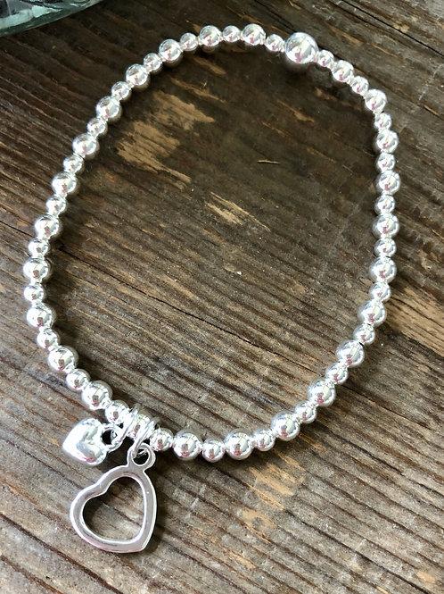 Heart Charm Bracelet - Silver