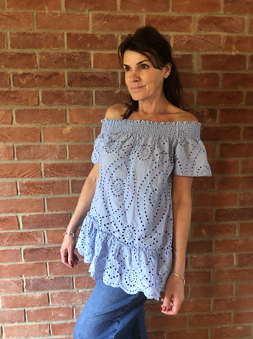 Broderie Anglaise Top - Pale Blue