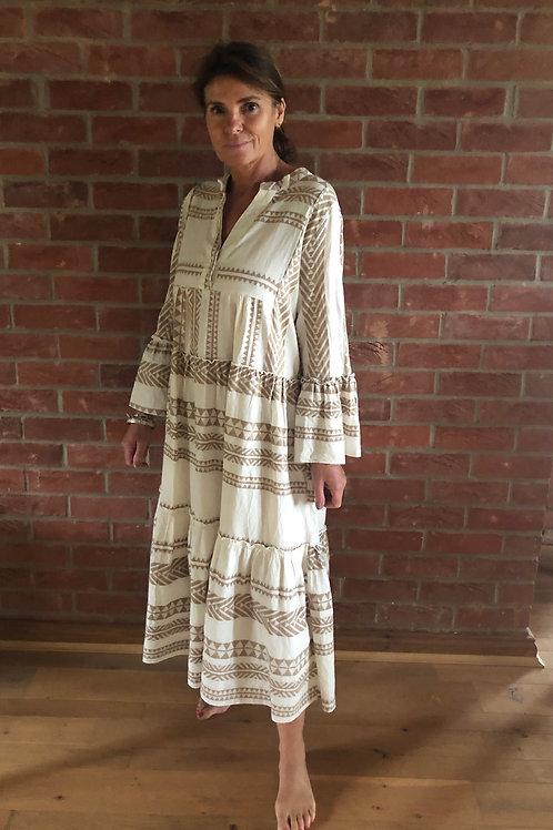 Long Aztec Dress - Beige