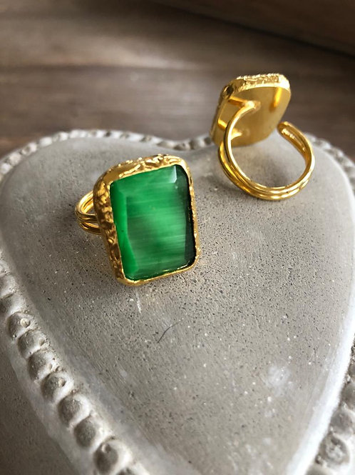 Square Cocktail Ring - Emerald