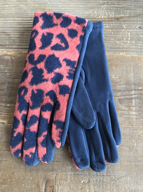Leopard Print Gloves - Orange & Navy