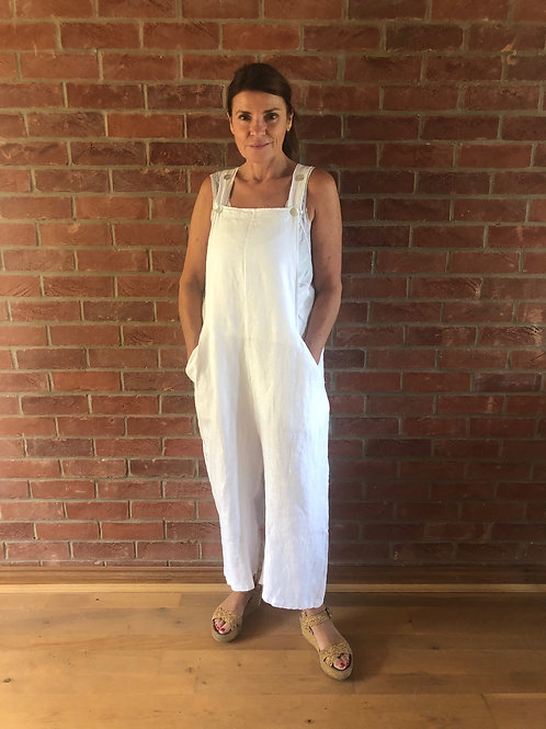 Linen Dungarees - White