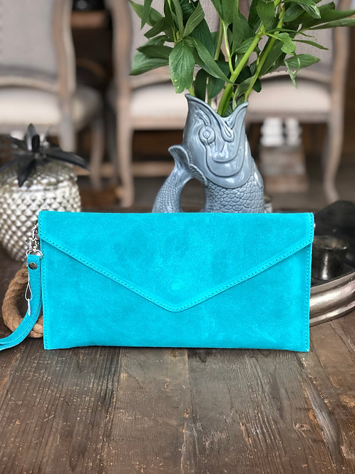 Suede Clutch - Turquoise
