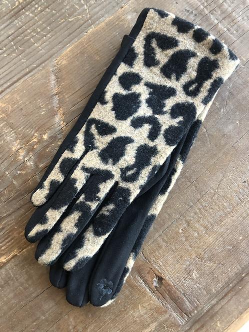 Leopard Print Gloves - Tan & Black
