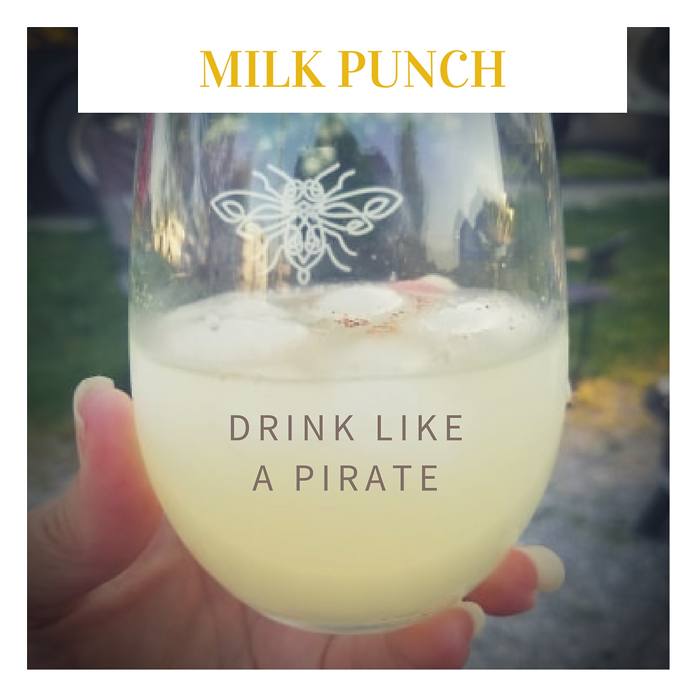 Clarified milk punch is a tropical drink recipe dating back to the 1600s made with rum, bourbon and cognac