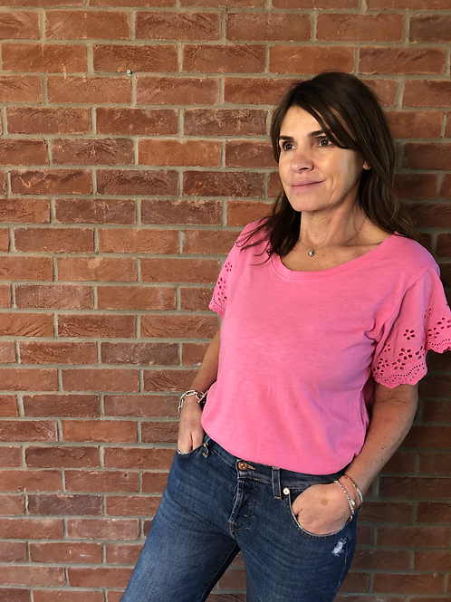 Broderie Anglaise T-Shirt - Pink