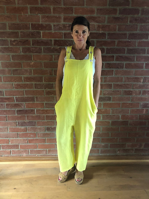 Linen Dungarees - Yellow