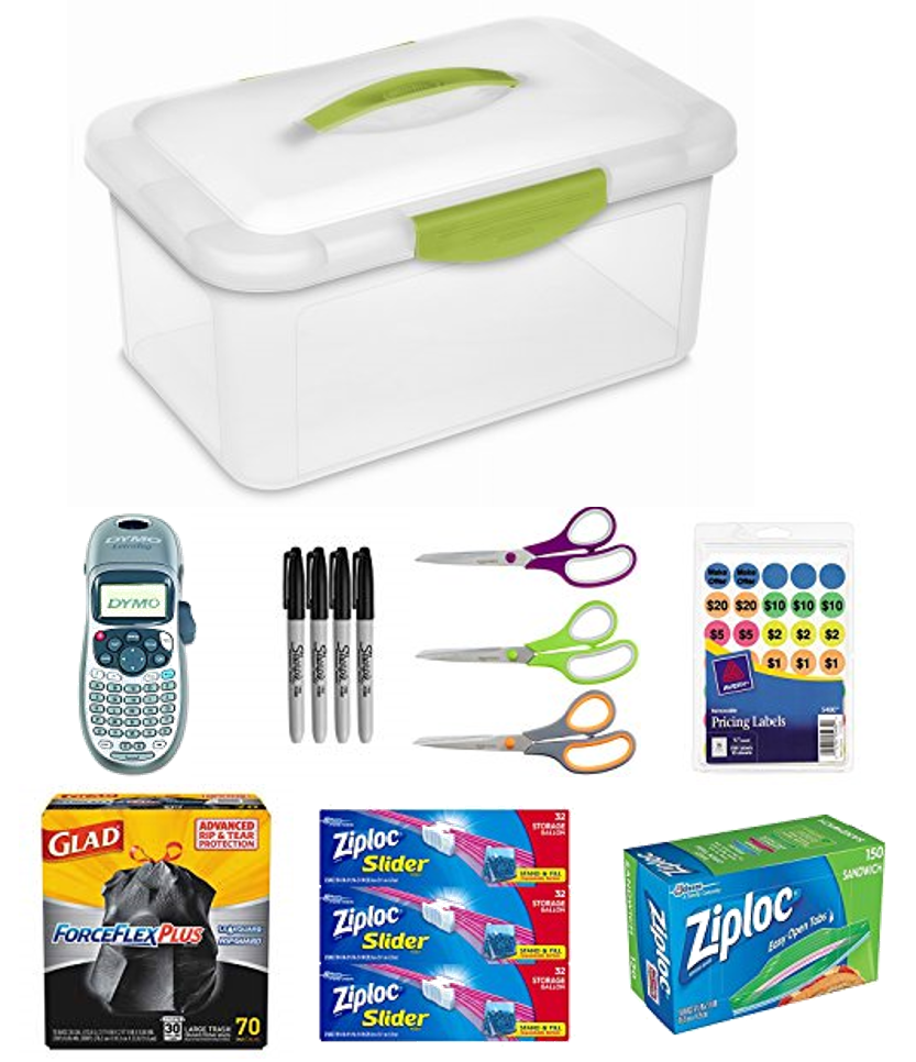 Helpful tools for preparing for a garage sale include Dymo Label Maker, Sharpie makers, Scissors, Glad Trash Bags, Ziploc bags and garge sale price labels