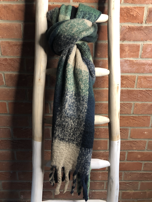Checked Scarf - Green & Navy