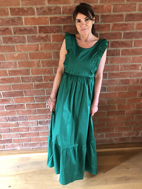 Frill Maxi Dress - Emerald Green
