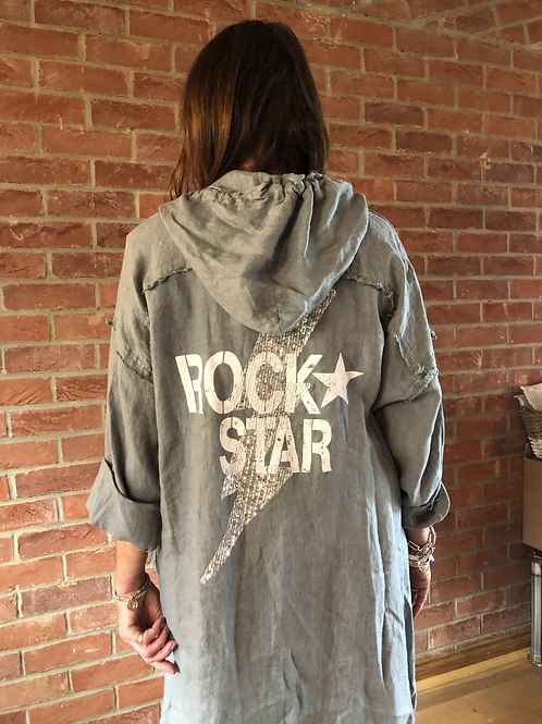 Rock Star Linen Jacket- Grey