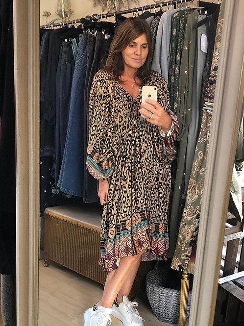 Leopard Pattern Dress - Caramel