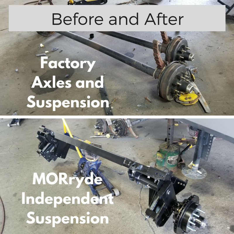 This is a view of the original RV Leaf Spring System, as well as the new MORryde Independent Suspension System.  The MORryde system is a far superior system for ride quality.