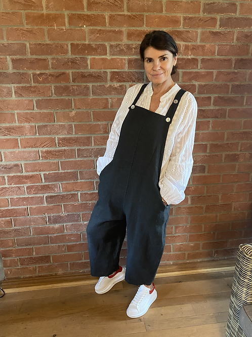 Linen Dungarees - Charcoal