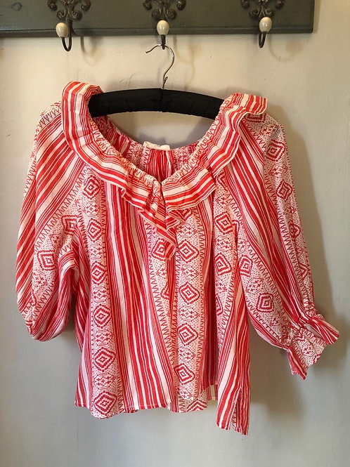 Frill Blouse - Red