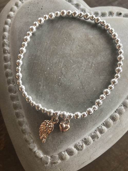 Mini angel wing and heart charm bracelet- Rose Gold