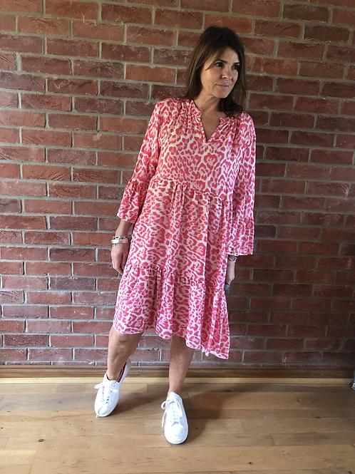Cora Dress - Pink/White