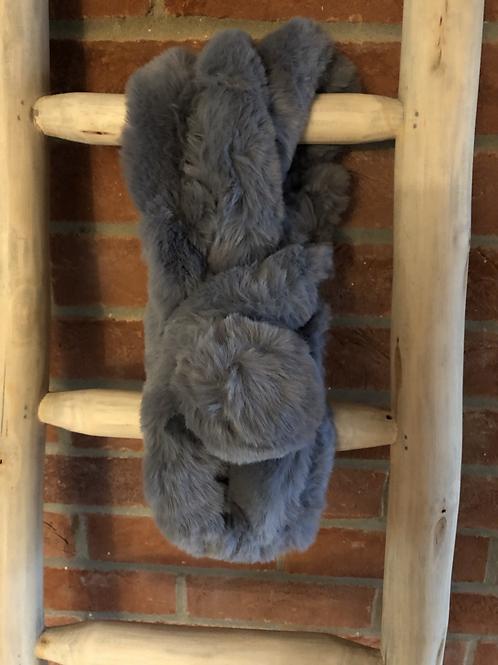 Faux Fur Pom Pom Neck Scarf - Dark Grey