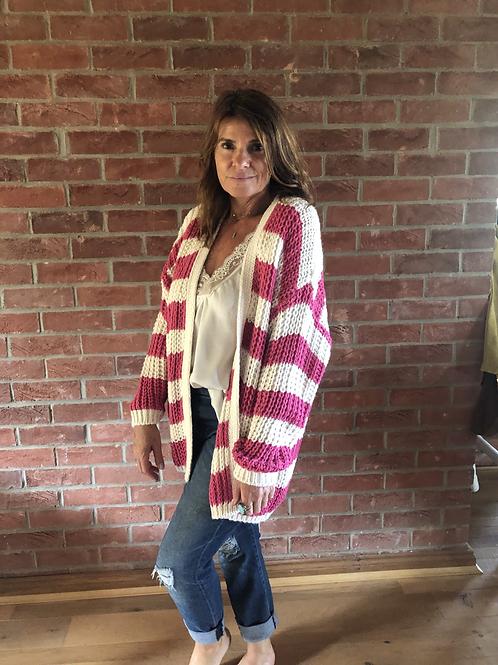 Chunky Knit Stripe Cardi - Pink