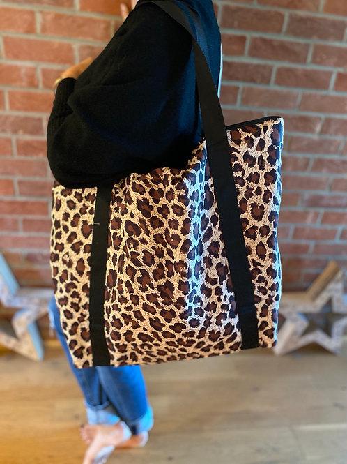 Leopard Print Shopper - Tan