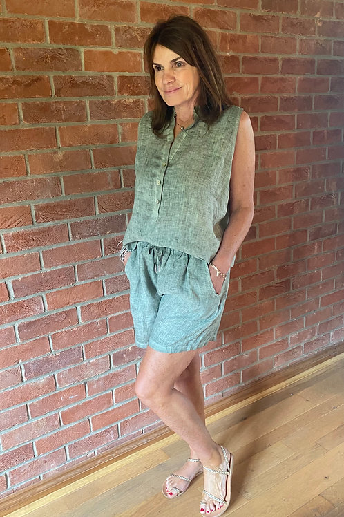 Linen Shorts and Top - Washed Khaki