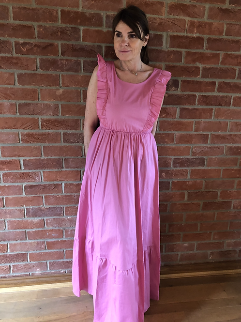 Frill Maxi Dress - Candy Pink