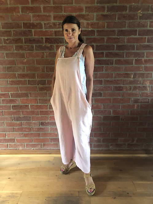 Linen Dungarees - Pale Pink