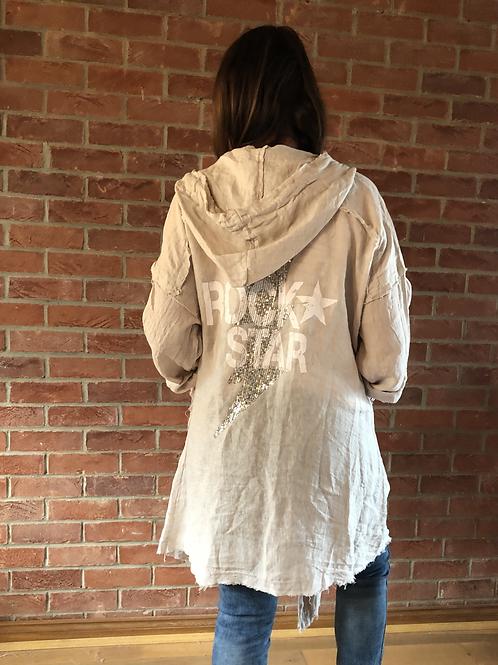Rock Star Linen Jacket - Beige