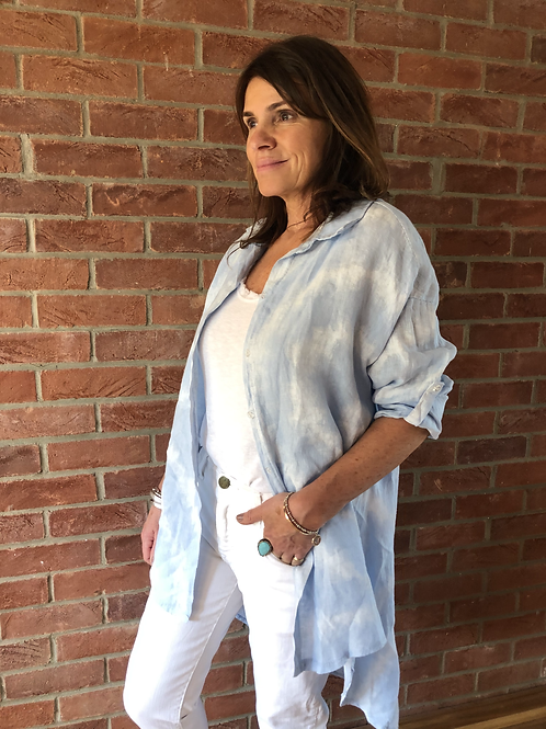 Tie-Dye Linen Shirt - Pale Blue