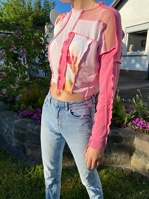pink patchwork sweatshirt cropped with contrast stitch, recycled vintage clothes, thrift flip