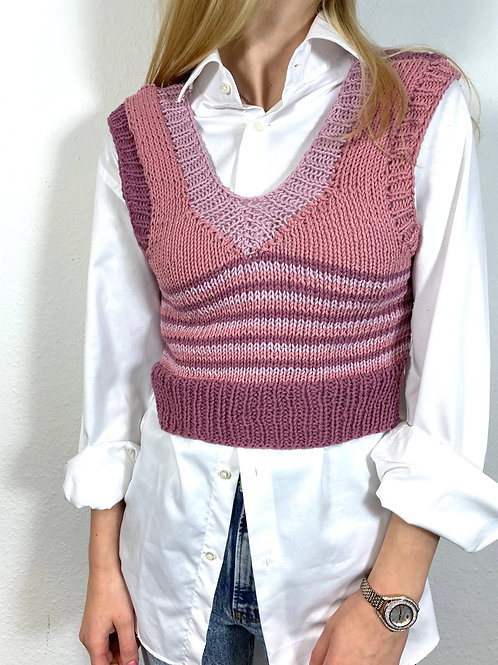 Hand-Knitted Cropped Vest, handmade, cute, colorful, y2k, indie aesthetic