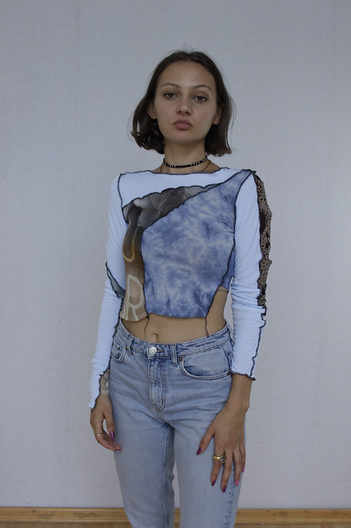 Patchwork longsleeve top, cropped, second skin top, contrast stitch, reverse seam, upcycled