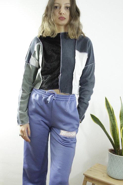 Velvet Patchwork Cropped Sweatshirt with reverse Seam