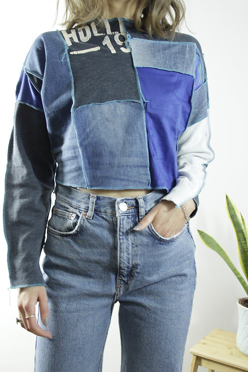 Denim jeans patchwork sweatshirt with reverse seam, overlock seam, upcycled sweatshirt, y2k, unique clothing store