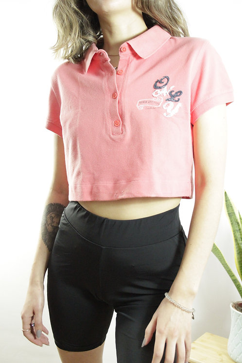 Pink Reworked Polo Crop Top