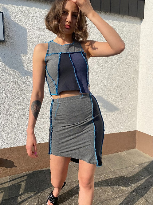 Patchwork Outfit Top and Skirt