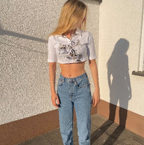 cropped graphic polo tee