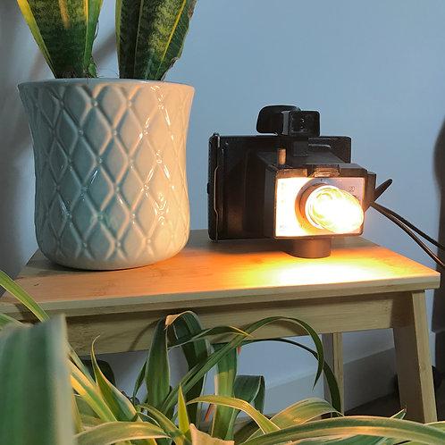 upcycled Polaroid camera lamp, unique home decor and handmade
