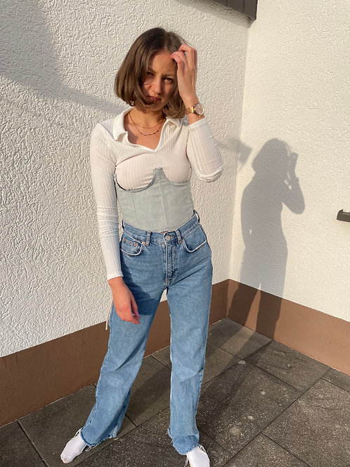 ripped underbust corset top belt, denim, jeans, high waisted, y2k, aesthetic