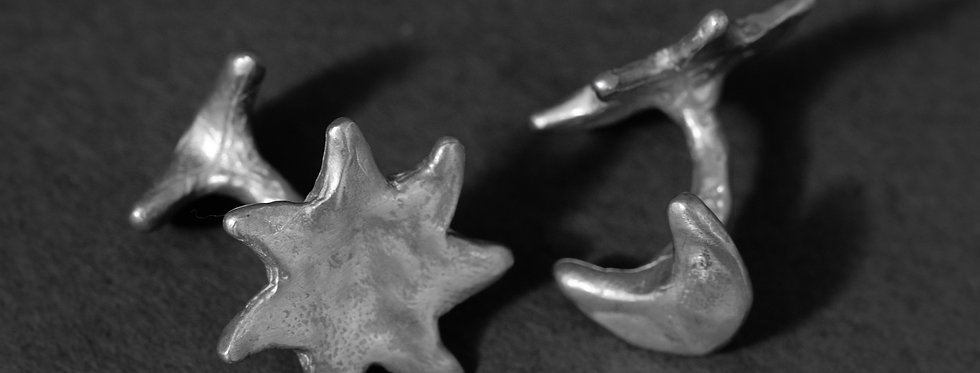 """ORBITS """"STAR AND MOON"""". SILVER"""