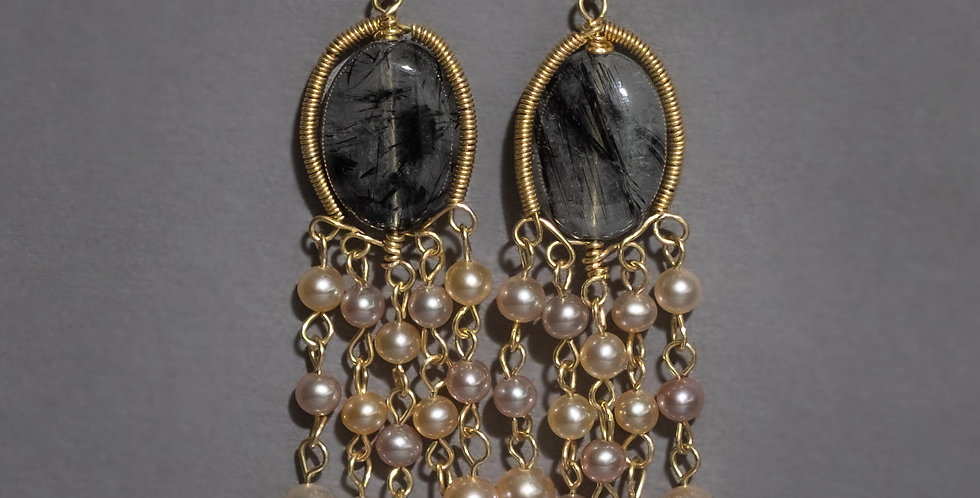 """WATERFALL"". SILVER OR GOLD FILLED, RUTILATED QUARTZ, FRESHWATER PEARLS"