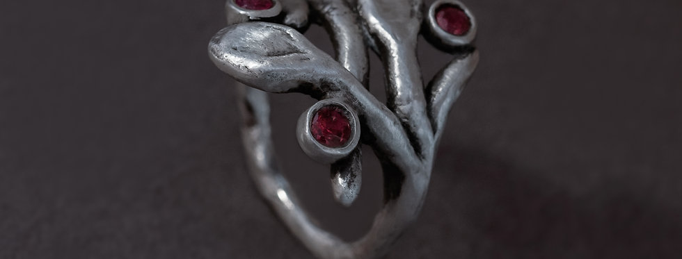 "FLORA ""BRANCH"". SILVER, SAPPHIRE OR RUBY"