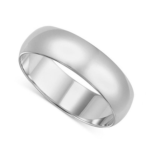 14k White Gold 6-mm Standard-fit Polished Wedding Band