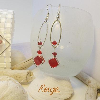 Boucles D'Oreilles • petit-ovale • rouge