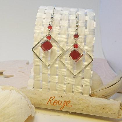 Boucles D'Oreilles • carré • Rouge