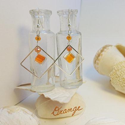 Boucles D'Oreilles • carré • Orange