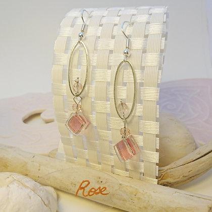 Boucles D'Oreilles • petit-ovale • rose