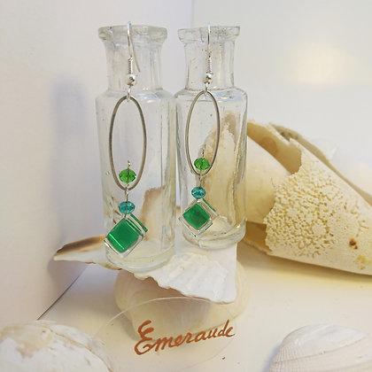 Boucles D'Oreilles • petit-ovale •Emeraude