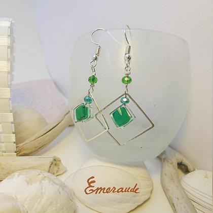Boucles D'Oreilles • carré • Emeraude