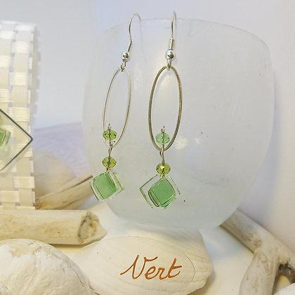 Boucles D'Oreilles • petit-ovale • vert